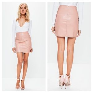 Missguided Faux Leather Mini Skirt in Nude